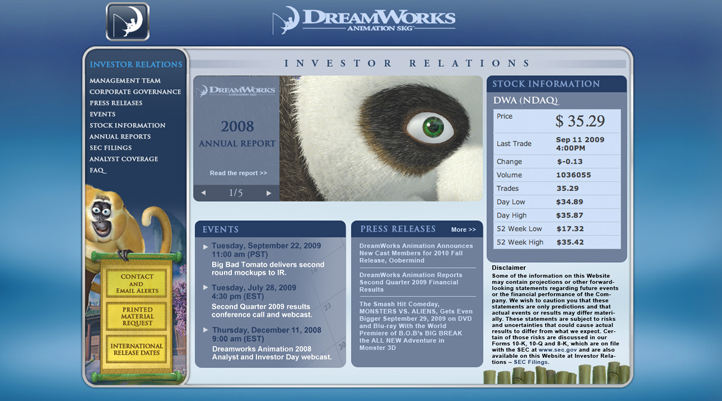 DreamWorks Investor Relations Site
