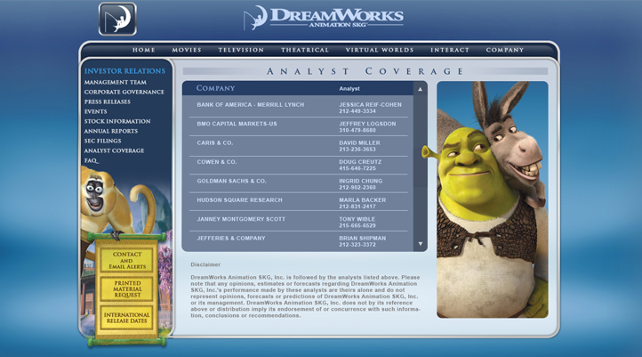 DreamWorks Analyst Coverage Site