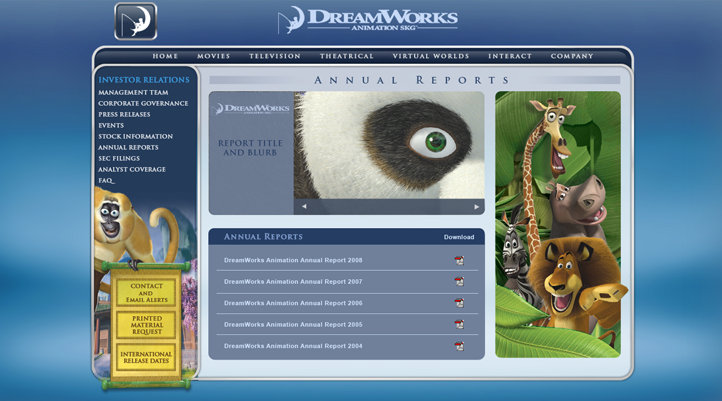 DreamWorks Annual Reports Site