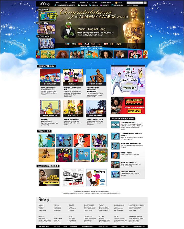 Disney.com Homepage