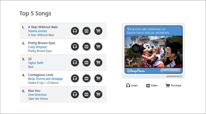 Disney Music Song List Module