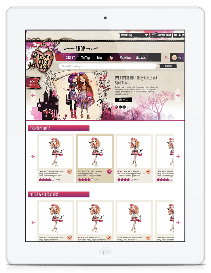 Ever After High Product Catalog Landing Page